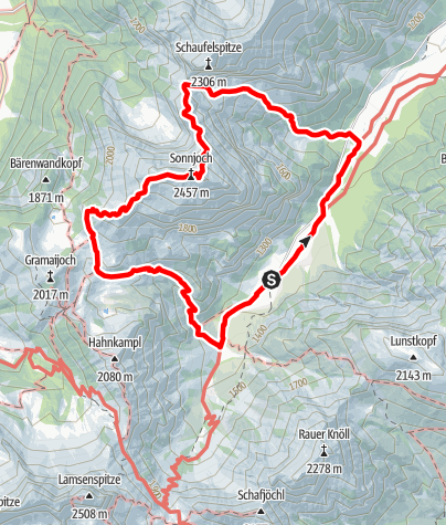 Kaart / Aus dem Falzthurntal auf das Sonnjoch