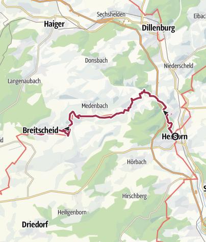 Map / Westerwald-Steig Stage 1: Herborn - Breitscheid (East - West)