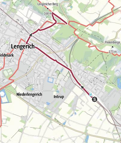 Karte / Zugangsweg Hermannshöhen: Lengerich
