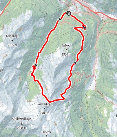Map / Hüttschlag: Reitalm - Rosskarkopfscharte - Vorderkaseralm