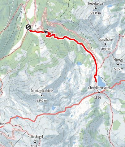 Karte / Von der Vögeialm zum Oberhüttensee
