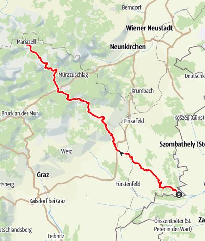 Karte / Ungarischer Mariazeller Weg über Vorau