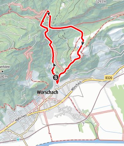 Karte / Rundwanderung durch die Wörschachklamm zur Ruine Wolkenstein