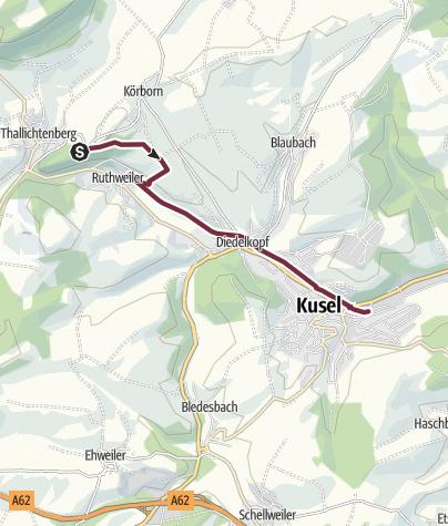 Karte / Burg Lichtenberg bis Kusel Bahnhof - Veldenz-Wanderweg (Leading-Quality-Trail - Best of Europe)