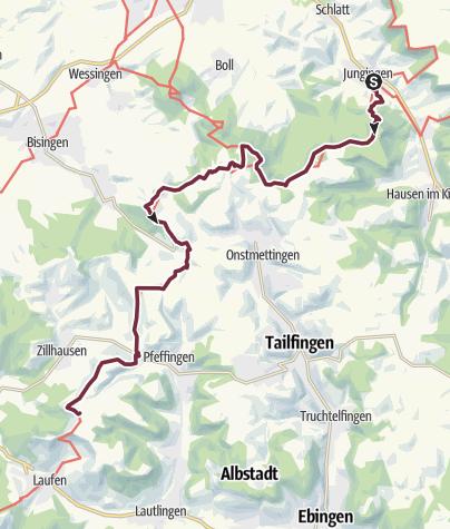 Karte / Albsteig (HW1) – Etappe 13 - Von Jungingen nach Burgfelden