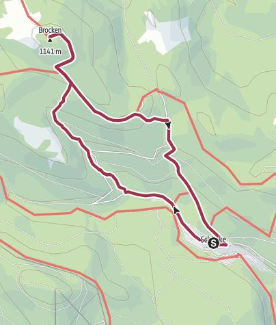 Karte / Brockenbesteigung von Schierke aus