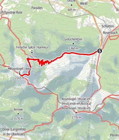 Karte / Wandertour Bertahütte / Mittagskogel