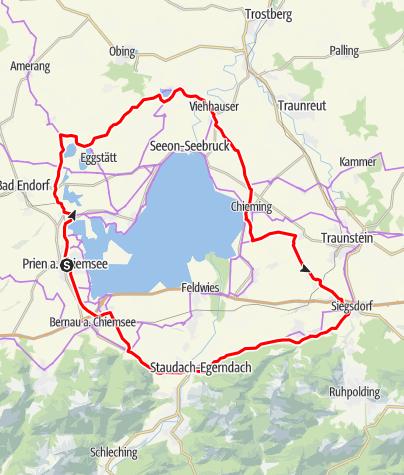 Karte / Permanente Radtourenfahrt - Rund um den Chiemsee