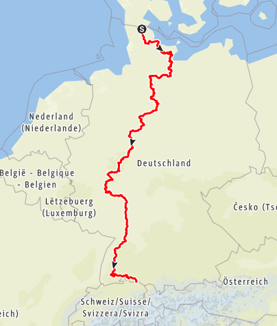 Kaart / Europäischer Fernwanderweg E1 – deutscher Abschnitt von Flensburg nach Konstanz