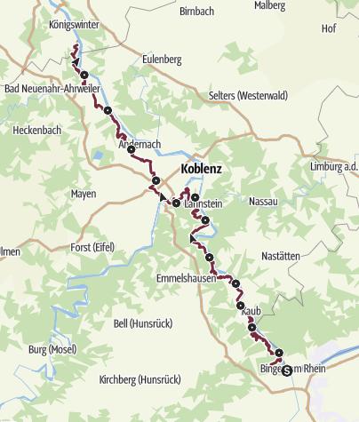 Karte / RheinBurgenWeg gesamt (Süd-Nord)