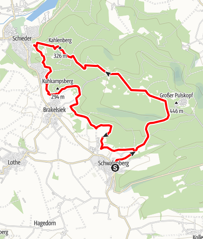 Kaart / Schwalenberger Wald met de Mörth