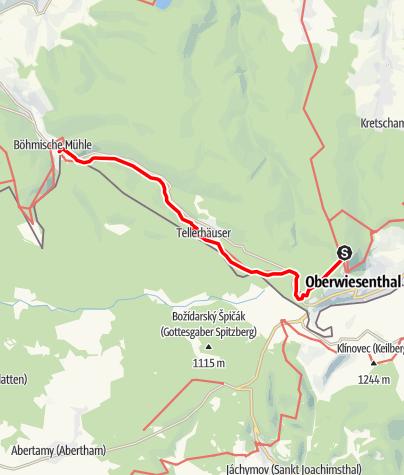 """Karte / Kammweg Etappe 09 """"Von Oberwiesenthal nach Rittersgrün"""""""