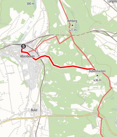 Karte / Zugangsweg Hermannshöhen: Altenbeken