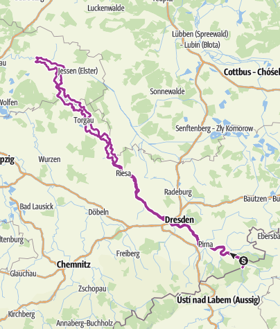 Map / Elbe Cycle Route - river Galore