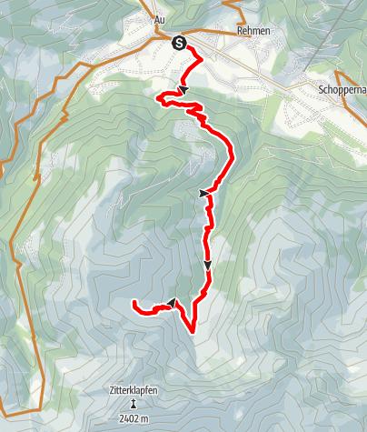 Karte / Au-Schoppernau | Bergkristall-Hütte - Annalp
