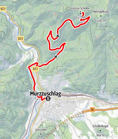 Karte / Mountainbikestrecke auf die Scheibe