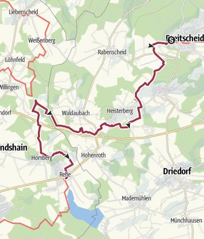Carte / Westerwald-Steig étape 2 Breitscheid - Fuchskaute (Est-Ouest)
