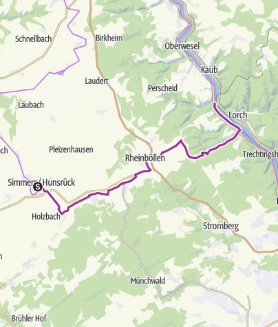 Kaart / Hunsrück-Radweg 04. Etappe: Simmern - Bacharach