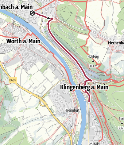 Karte / Fränkischer Rotwein Wanderweg - 4. Etappe von Erlenbach nach Klingenberg