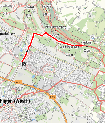 Karte / Zugangsweg Hermannshöhen: Steinhagen