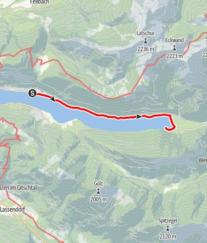 Map / Ortsee über Ronacherfels und Kleine Steinwand - Weissensee