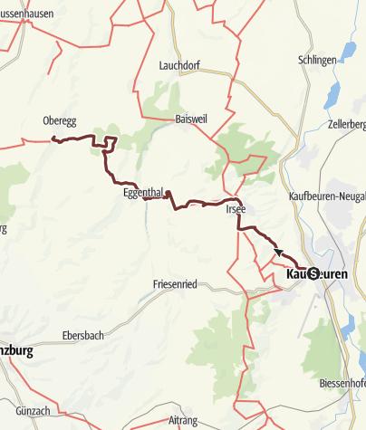 Karte / Crescentia-Pilgerweg - Etappe 1 - Kaufbeuren nach Oberegg