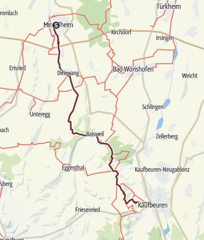 Karte /  Crescentia-Pilgerweg - Etappe 4 - Mindelheim nach Kaufbeuren