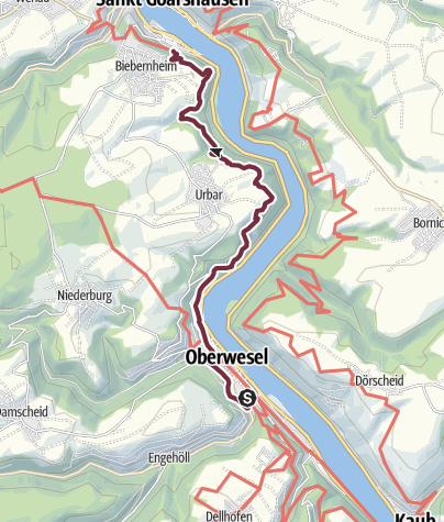 Map / RheinBurgenWeg Stage 4: Oberwesel – St. Goar (South - North)