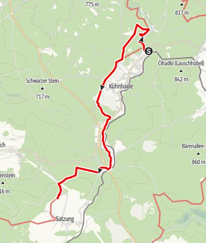 """Karte / Kammweg Etappe 06 """"Von Kühnhaide nach Satzung"""""""