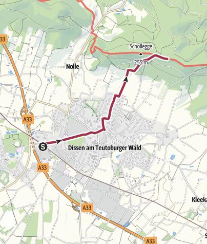 Karte / Zugangsweg Hermannshöhen: Dissen