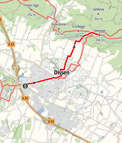 Kaart / Zugangsweg Hermannshöhen: Dissen