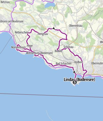 "Map / Tour no. 1 round Lake Constance. ""Panoramic bicycle tour round Bavarian Lake Constance"""