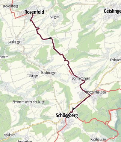 Karte / Hohenzollernweg - Etappe 10a - Von Schömberg nach Rosenfeld