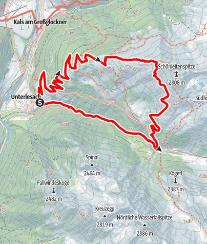 Kaart / Schönleitenspitze - 2805 m - Schobergruppe: Europa-Wanderhotel Taurerwirt