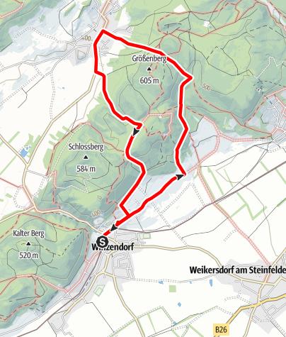 Térkép / Winzendorf Rundwanderweg 5, Durch die Weinberge nach Muthmannsdorf