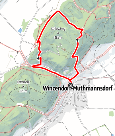 Mapa / Winzendorf Rundwanderweg 6, Eselsteig - Ruine Emmerberg