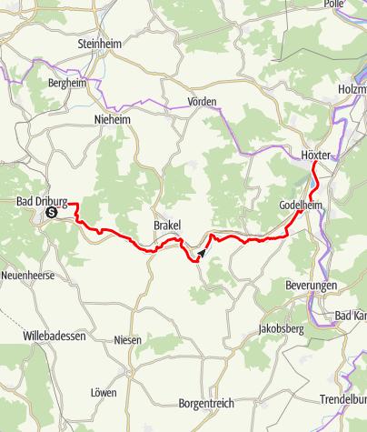Kaart / R2 Bad Driburg – Höxter