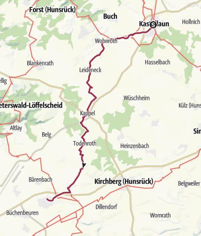 Map / Hunsrückhöhenweg 03. Etappe:  Kastellaun - Sohren