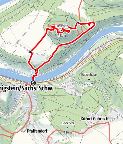 Karte / Wanderung zum Lilienstein