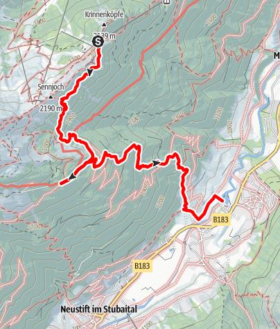 Mapa / Kreuzjoch - Knappenhütte - Kaserstattalm - Pfurtschell - Kampl