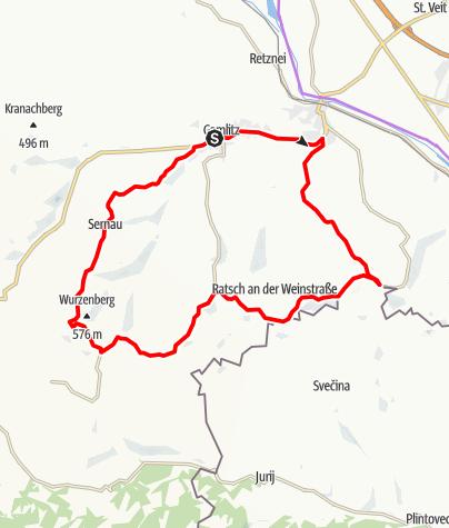 """Karte / Genussradeln - Weinstraßen Tour Variante 2 - """"Ratsch"""""""