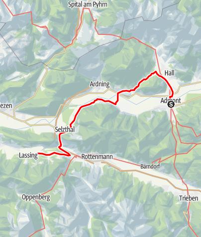Karte / Etappe 01 Hemma Pilgerweg Route Admont