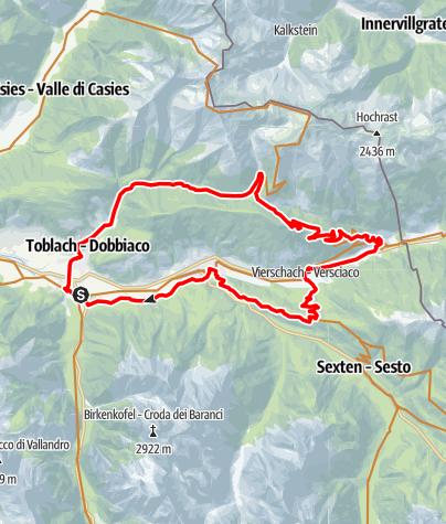 Karte / Silvesteralm, Rundtour zur kleinen Alm oberhalb von Toblach