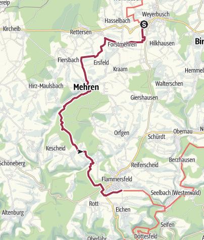 Kaart / Westerwald-Steig - 12e etappe: Weyerbusch - Flammersfeld (oost-west)