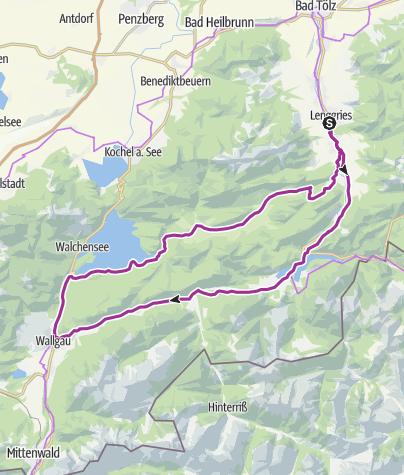 Karte / Lenggrieser Seen-Runde zum Sylvensteinsee und Walchensee