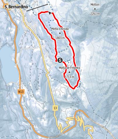Kaart / itinerario Pian Scundù S.Bernardino