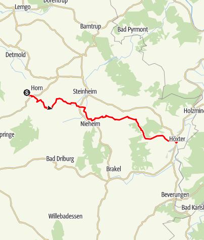 Karte / Europa-Fernradweg R1 - Teuto-Etappe 03: Horn bis Höxter