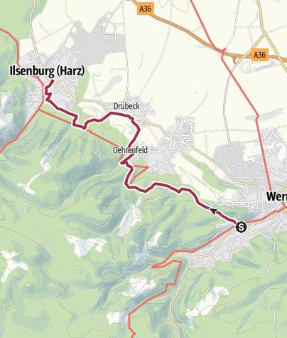 Karte / Klosterwanderweg von Wernigerode nach Ilsenburg