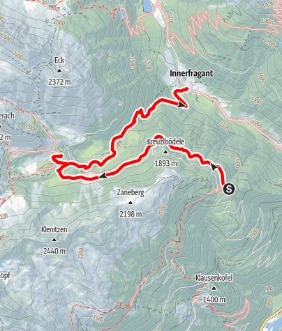Karte / Rollbahn - Grossfragant - Abstieg Innerfragant