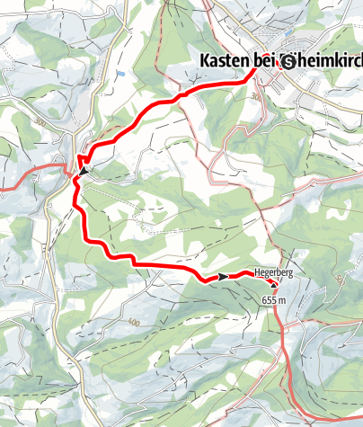 Mapa / Fahrafelder Kirchenweg mit Aufstieg zum Hegerberg